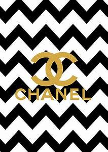 Limited edition Gold Chanel Logo Black Chevron Print on ...