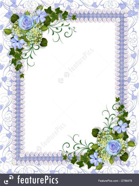 templates wedding invitation blue floral stock