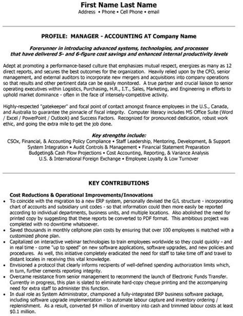 sr accounting manager resume sle template