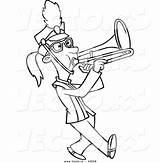 Trombone Playing Coloring Outline Marching Cartoon Toonaday Vecto Rs sketch template