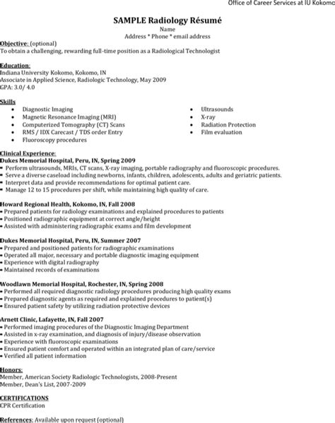 sample radiology resume template