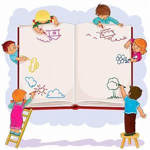 کودکان شاد در حال نقاشی در یک دفتر بزرگ - روکسو