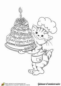 Dessin Gateau D Anniversaire : dessin colorier g teau d anniversaire et chat p tissier ~ Louise-bijoux.com Idées de Décoration
