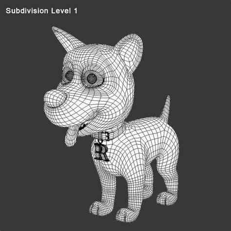 model cartoon dog rex edge flow  modeling