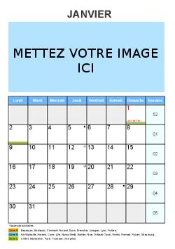 calendrier mensuel personnaliser