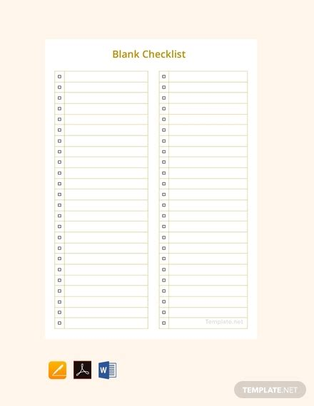 blank checklist template word  apple pages