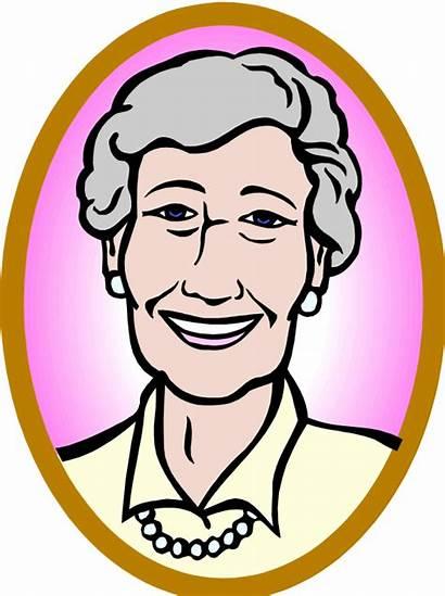 Clipart Woman Clip Lady Older Cartoon Face