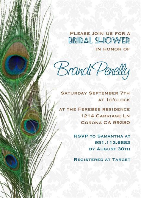 DAMASK PEACOCK FEATHERS invitation birthday shower You Etsy