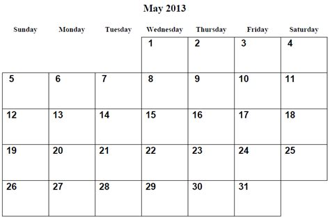 6 Best Images Of May Calendar 2013 Printable  2013 Printable Calendars Templates Pdf, May 2013