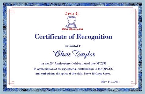Certificate Of Recognition Template Certificate Templates