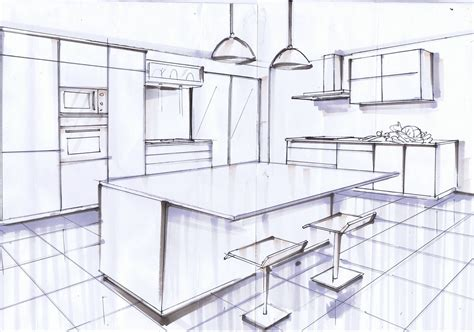 dessin evier cuisine ilot central noir et blanc le de elise fossoux