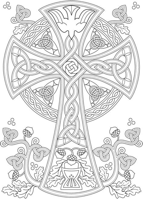 www.doverpublicat… | Cross coloring page, Celtic coloring