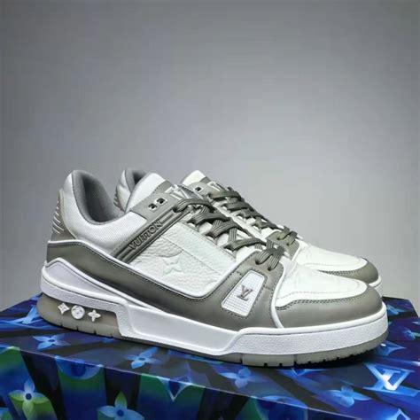 louis vuitton lv men lv trainer sneaker monogram embossed calf leather gray lulux