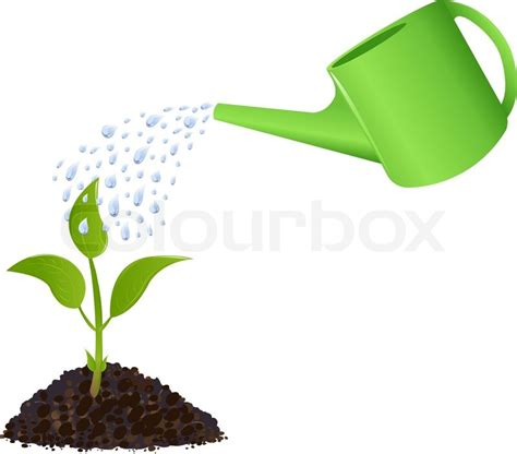 watering can with water coming out plant with watering can and water drops isolated on
