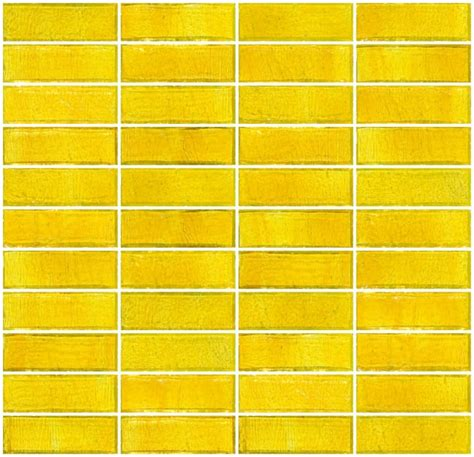 sunshine yellow transparent glass subway tile stacked