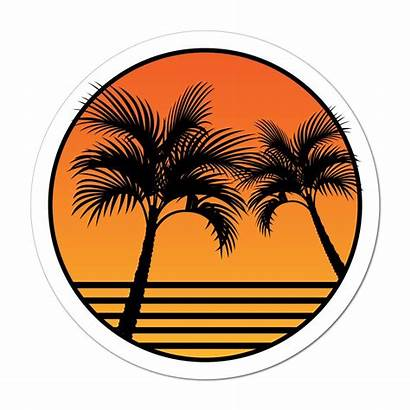Palm Vibes Sunset Tree Decal Beach Sticker