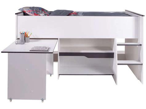 combiné lit bureau conforama lit surélevé combiné moby coloris blanc et gris vente de