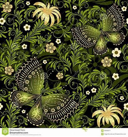 Pattern Dark Flowers Seamless Spring Naadloos Gouden