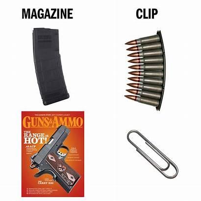 Gun Clip Magazine Guns Misused Terms Ammo