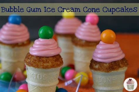 ice cream cone cupcakes  bubble gum frosting hoosier