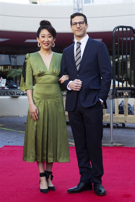 sandra oh history golden globes sandra oh andy samberg want lighter tone at golden globes