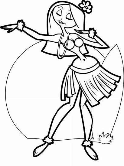 Coloring Hula Dancer Hawaiian Netart Template Printable