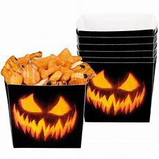 Halloween Creepy Pumpkin Paper Bowls 400ml  Pack Of 6