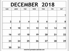 December 2018 Calendar calendar month printable