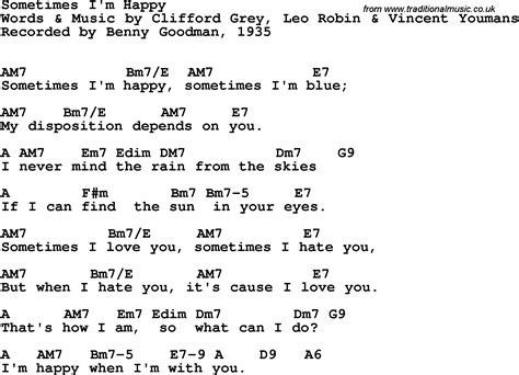 Song Lyrics With Guitar Chords For Sometimes I'm Happy