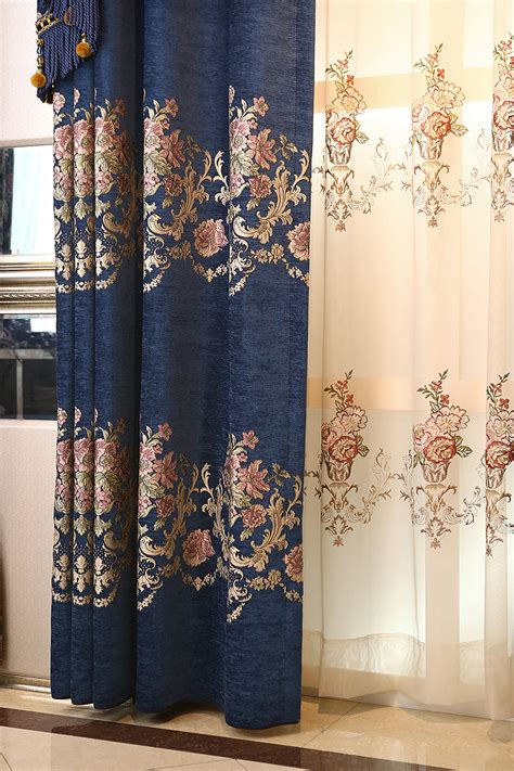 navy blue floral jacquard chenille luxury thermal valance