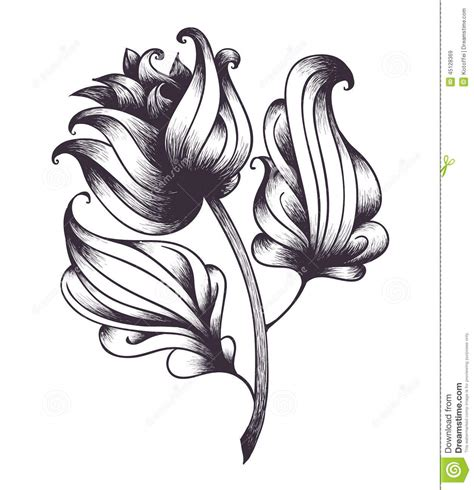 abstract hand drawn flower vector illustration stock
