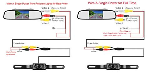 leekooluu rear view and mirror monitor kit only wire single power rear view