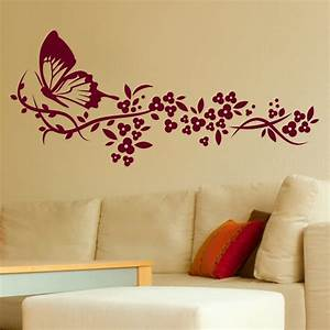 wall art stickers flowers home decor interior exterior With best brand of paint for kitchen cabinets with metal butterflies wall art