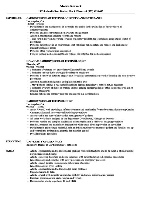 Cath Lab Tech Resume by Cardiovascular Technologist Resume Sles Velvet