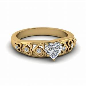 heart design diamond accent engagement ring in 14k yellow With heart shaped engagement rings wedding bands