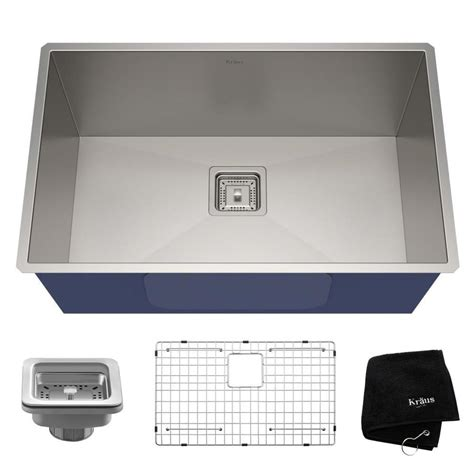 undermount stainless sinks kitchen sinks shop kraus pax 28 5 in x 18 5 in stainless steel single 8737