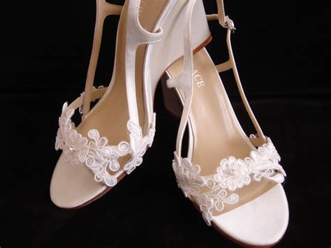 Lace Bridal Wedge Heel Wedding Shoes 3.5 Inch By