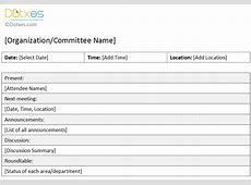 Organization Meeting Minutes Template short form Dotxes