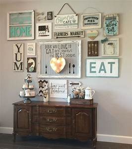 My gallery wall in our kitchen i39m colewifey on ig for Kitchen colors with white cabinets with large metal letter wall art