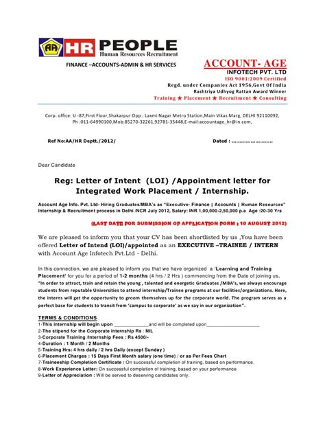 Offer Letter Of Intent Sle by Letter Of Intent Loi Appointment Letter Offer Letter