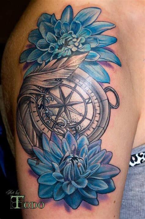 blue dahlia  compass tattoo  shoulder  todo