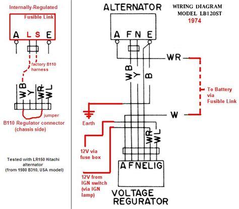tech wiki ir alternator conversion wiring datsun  club