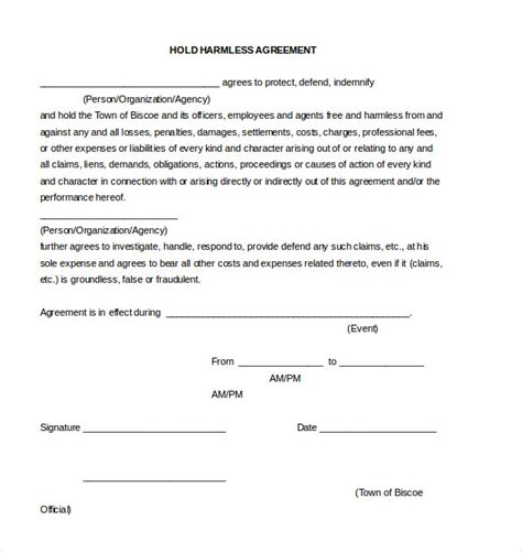 Hold Harmless Waiver Template by 9 Hold Harmless Agreement Templates Free Sle Exle