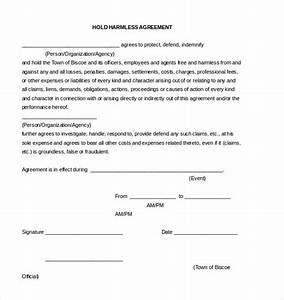 9 hold harmless agreement templates free sample example With hold harmless waiver template