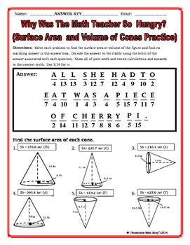 surface area and volume cones riddle worksheet by secondary math shop