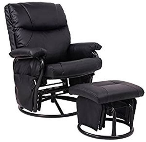 merax 174 black pu leather nursing glider rocker