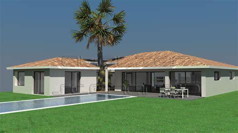 construire un ilot de cuisine maison lerne de plain pied avec patio central