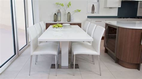 sanza small extending white gloss dining table uk
