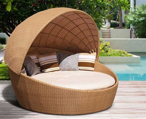 oyster rattan daybed with canopy contemporary synthetic