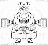 Beer Holding Viking Drunk Coloring Cartoon Clipart Chubby Thoman Cory Outlined Vector sketch template